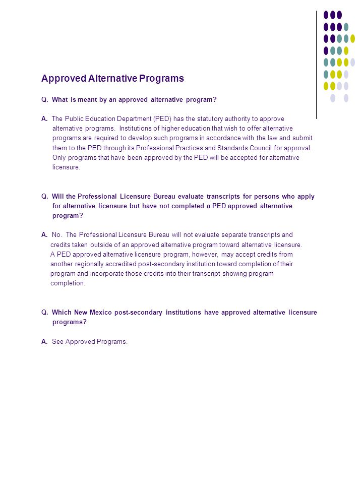 Approved Alternative Programs