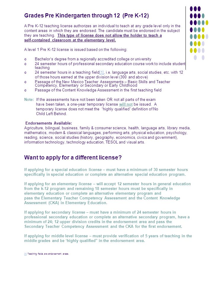 Grades Pre Kindergarten through 12 (Pre K-12)