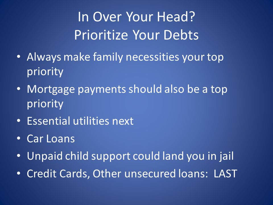 In Over Your Head Prioritize Your Debts