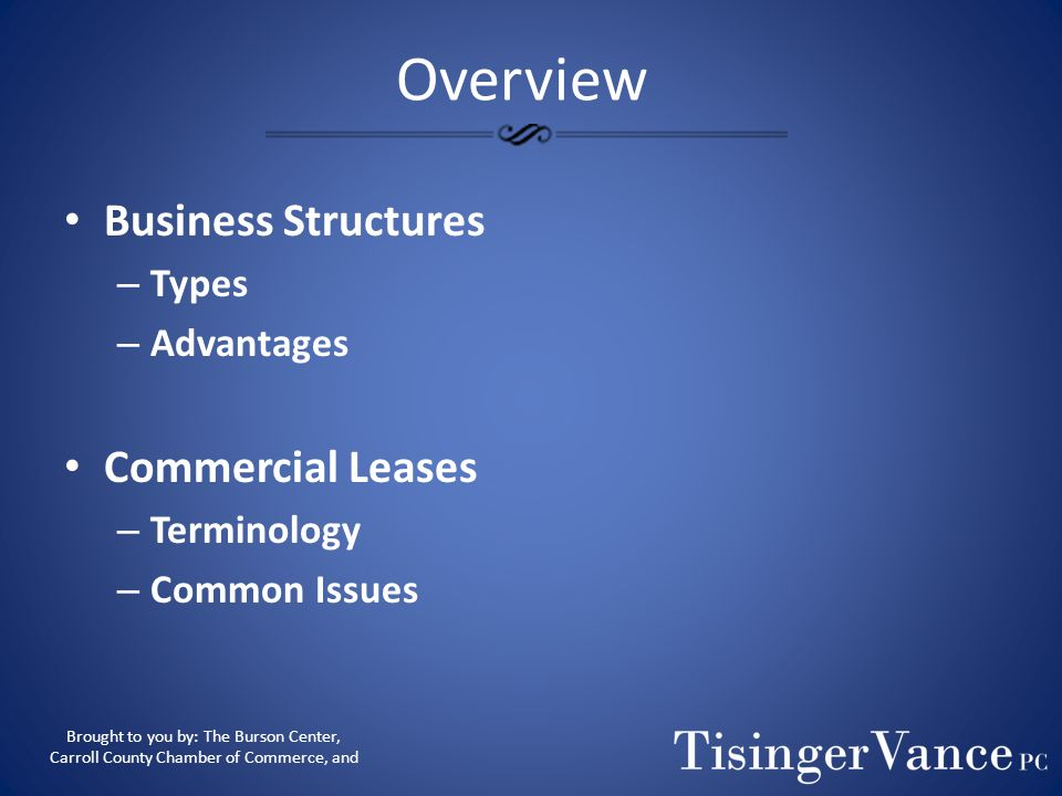 Overview Business Structures Commercial Leases Types Advantages