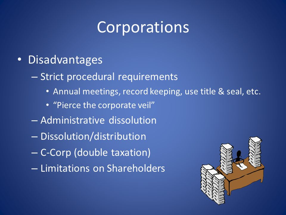 Corporations Disadvantages Strict procedural requirements