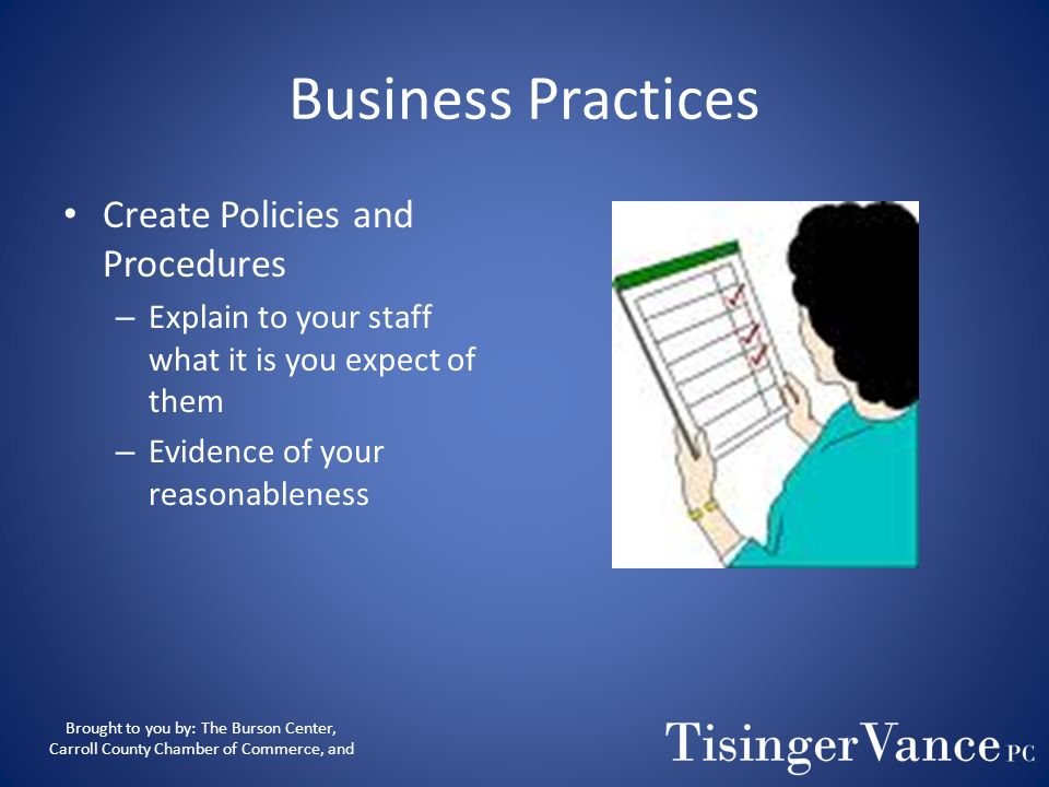 Business Practices Create Policies and Procedures