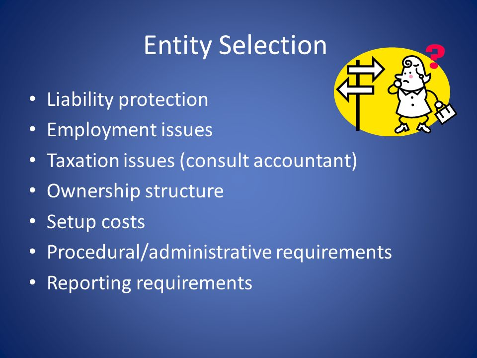 Entity Selection Liability protection Employment issues