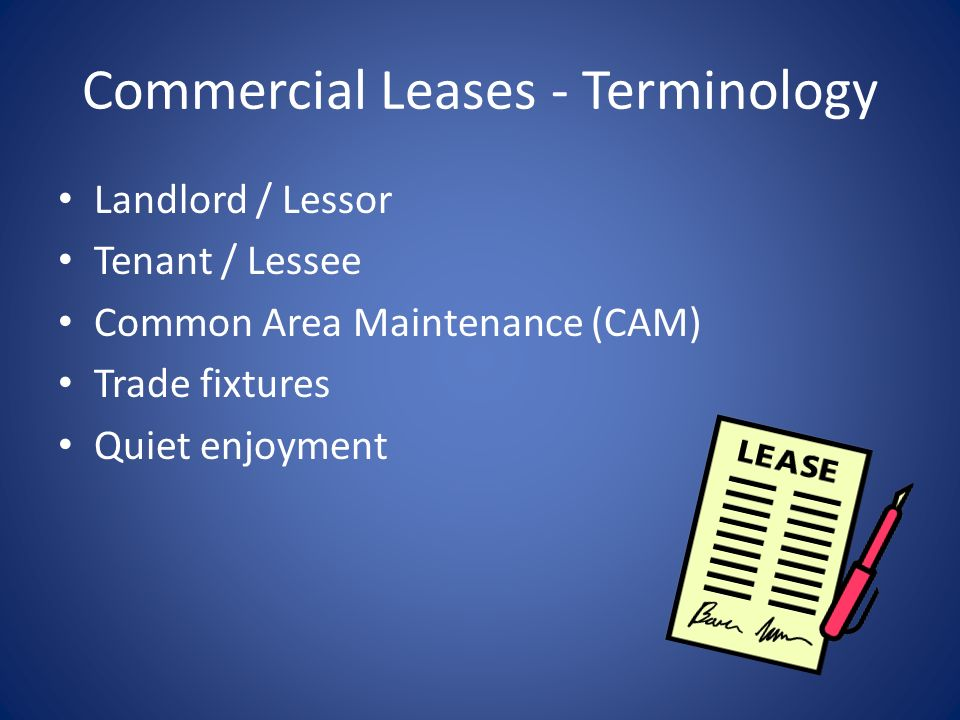 Commercial Leases - Terminology