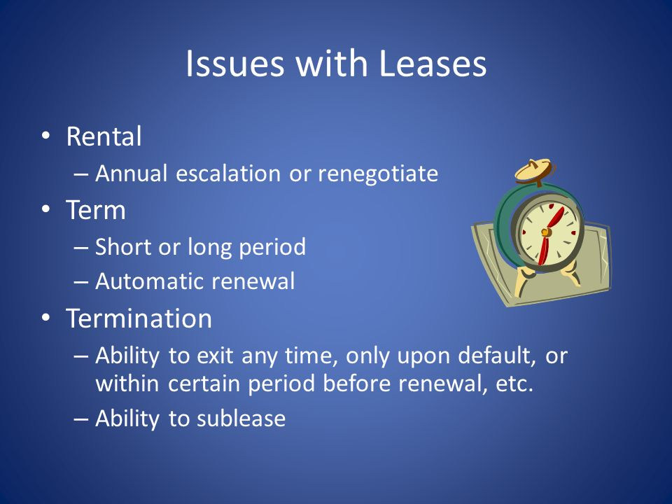 Issues with Leases Rental Term Termination