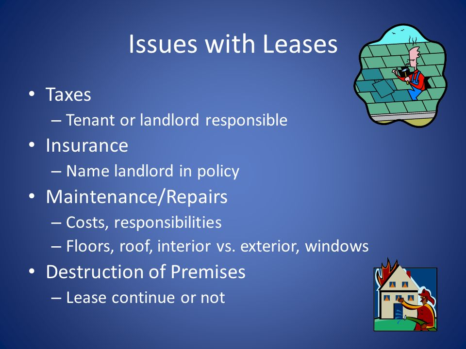 Issues with Leases Taxes Insurance Maintenance/Repairs