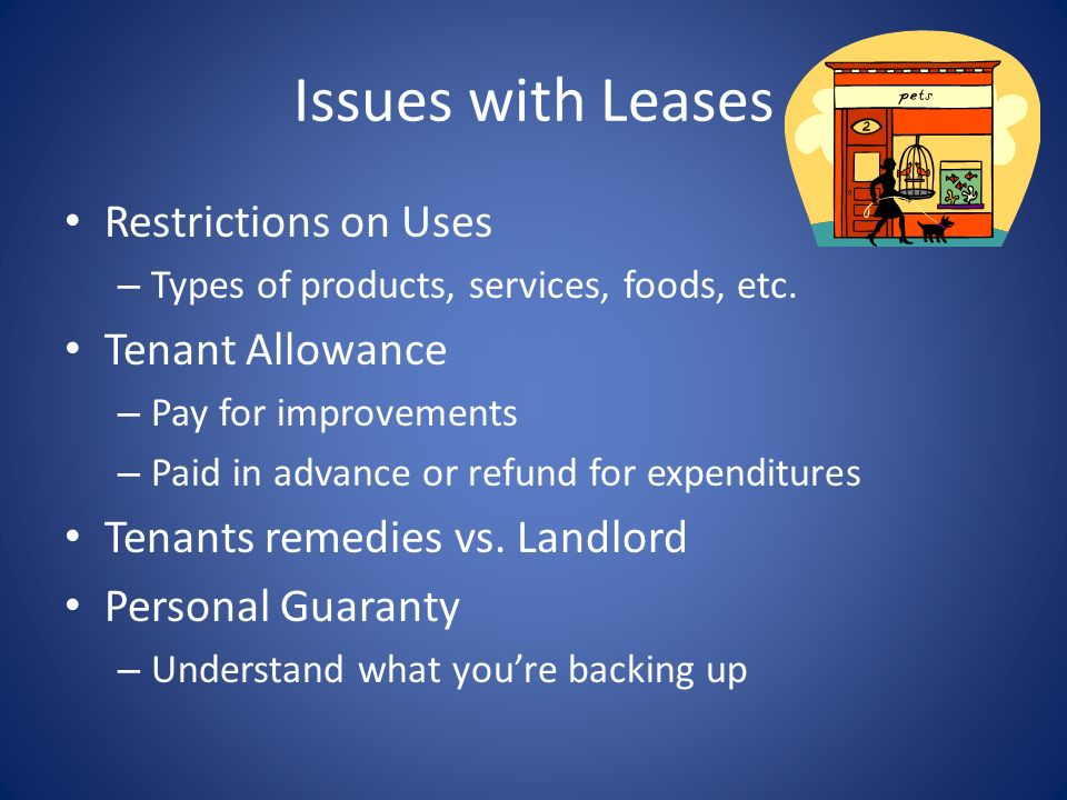 Issues with Leases Restrictions on Uses Tenant Allowance