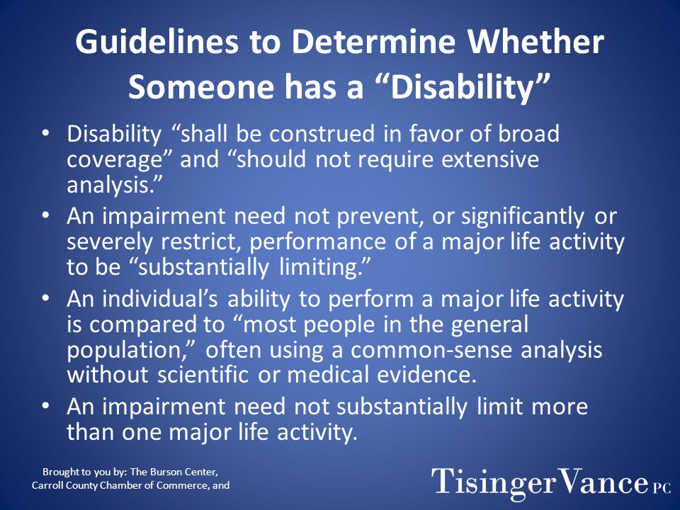 Guidelines to Determine Whether Someone has a Disability
