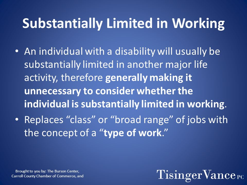 Substantially Limited in Working