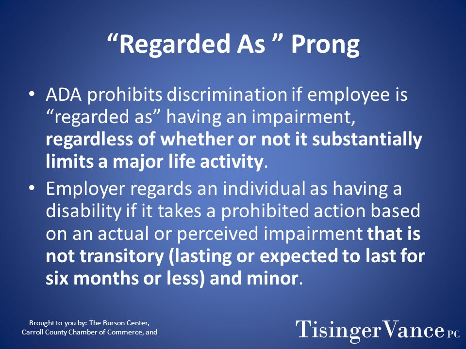 Regarded As Prong