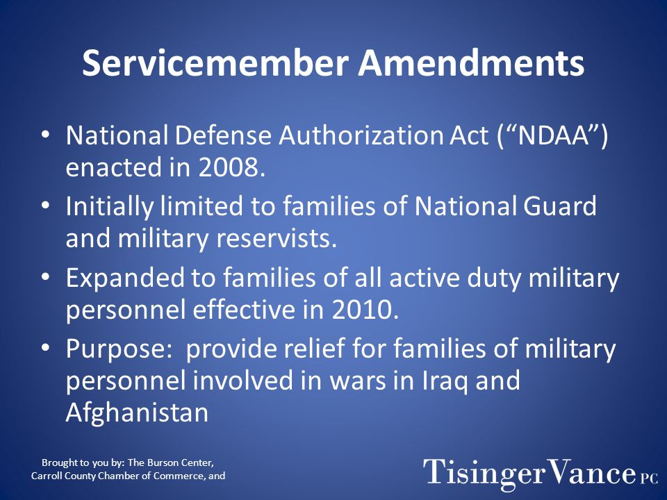 Servicemember Amendments