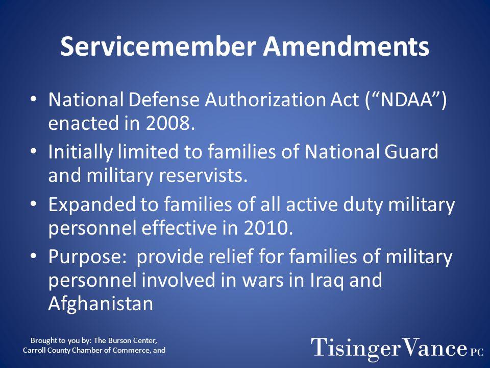 Servicemember Amendments