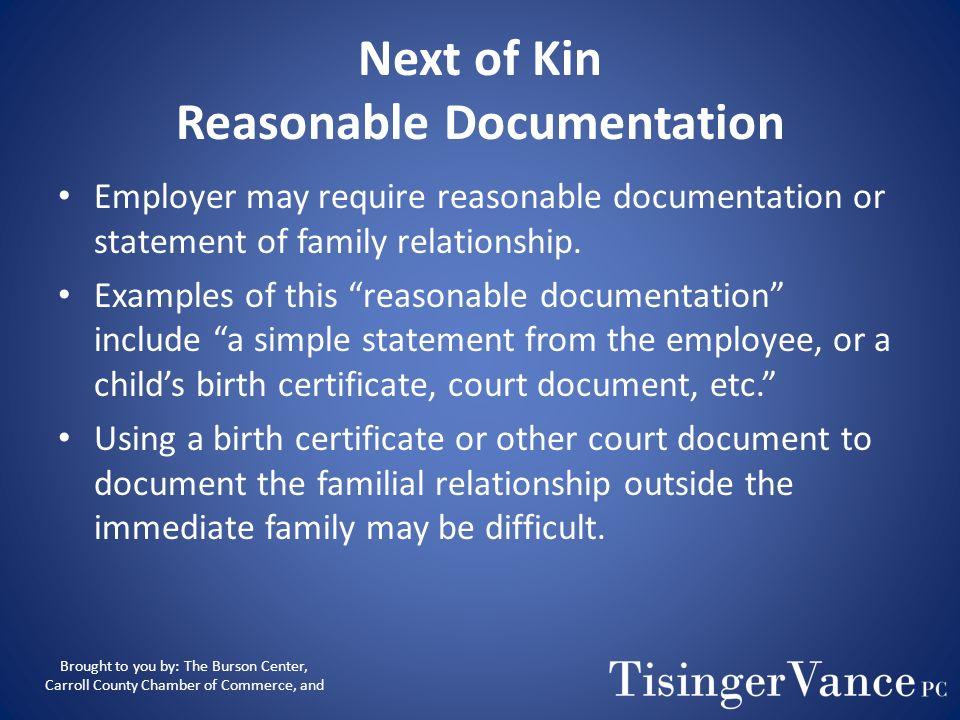 Next of Kin Reasonable Documentation