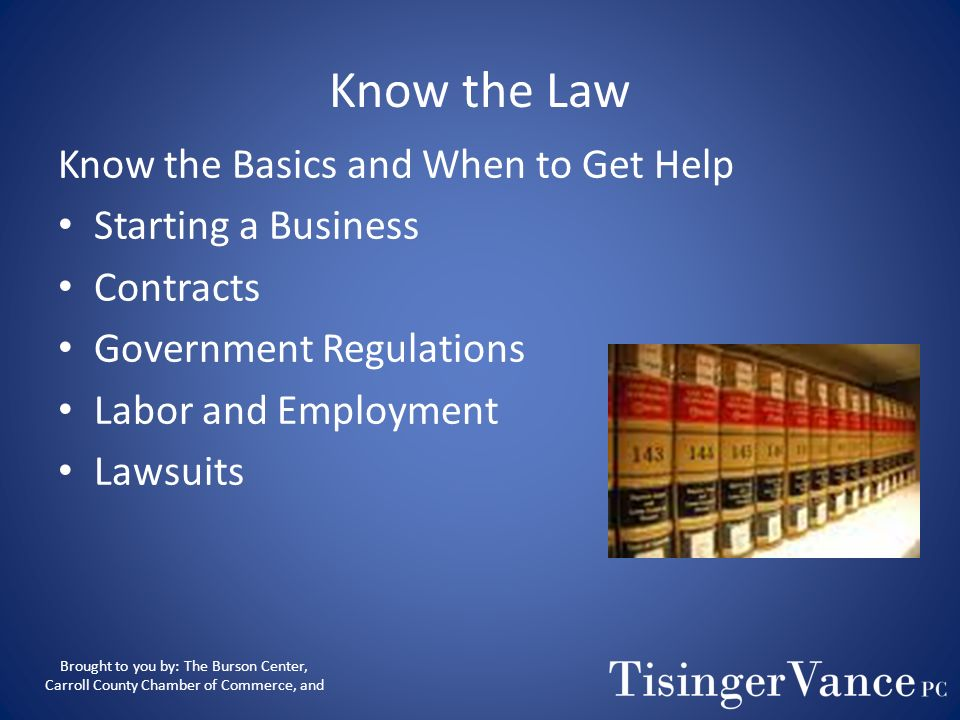 Know the Law Know the Basics and When to Get Help Starting a Business