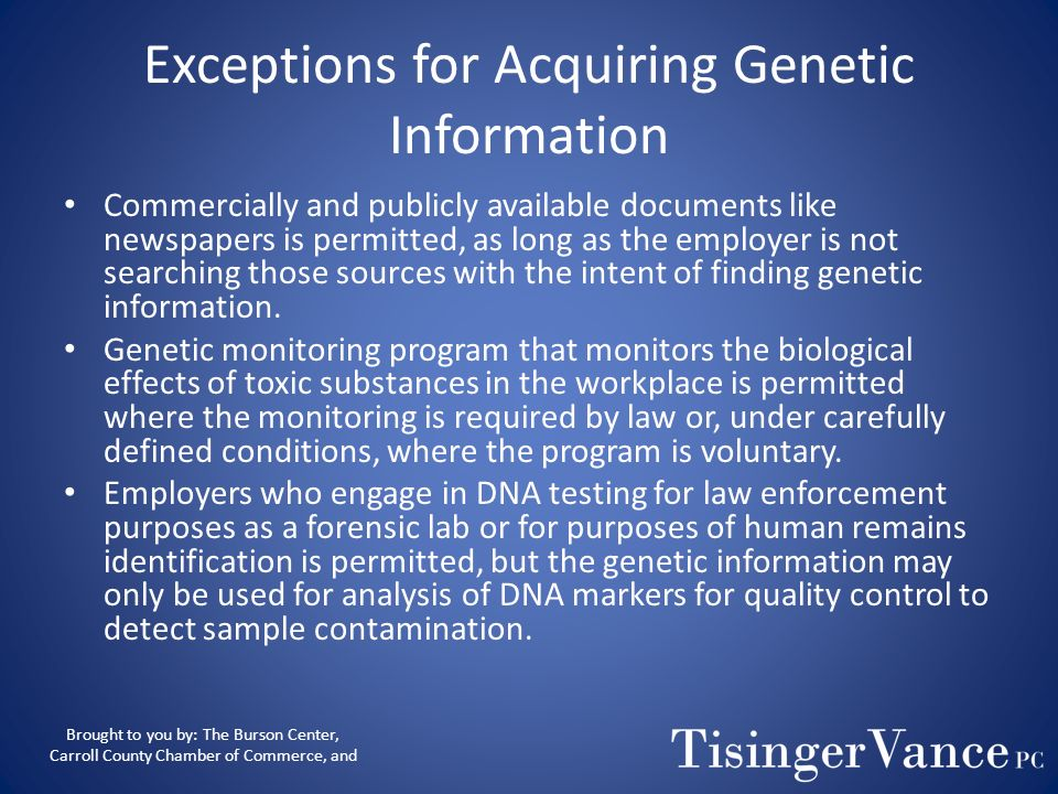 Exceptions for Acquiring Genetic Information
