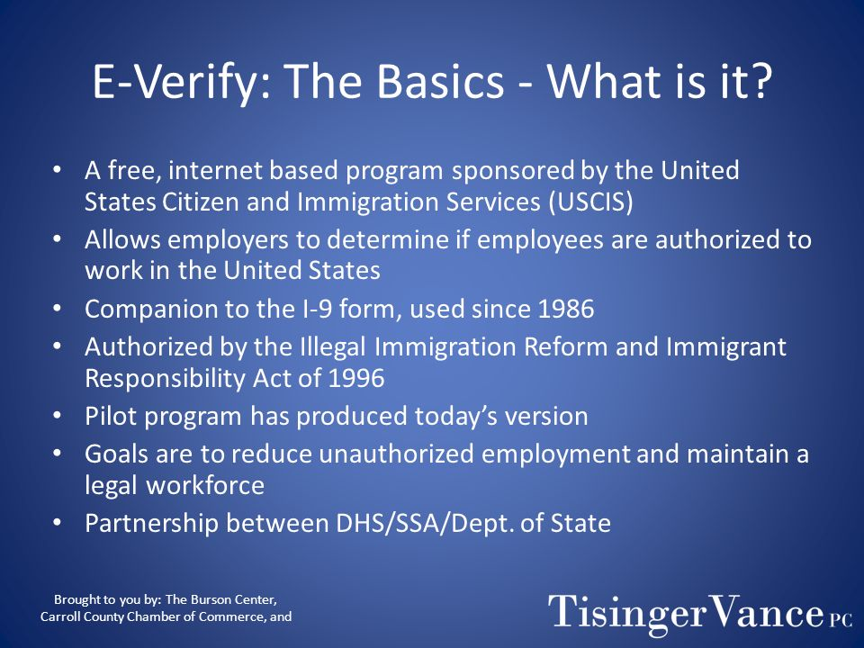 E-Verify: The Basics - What is it