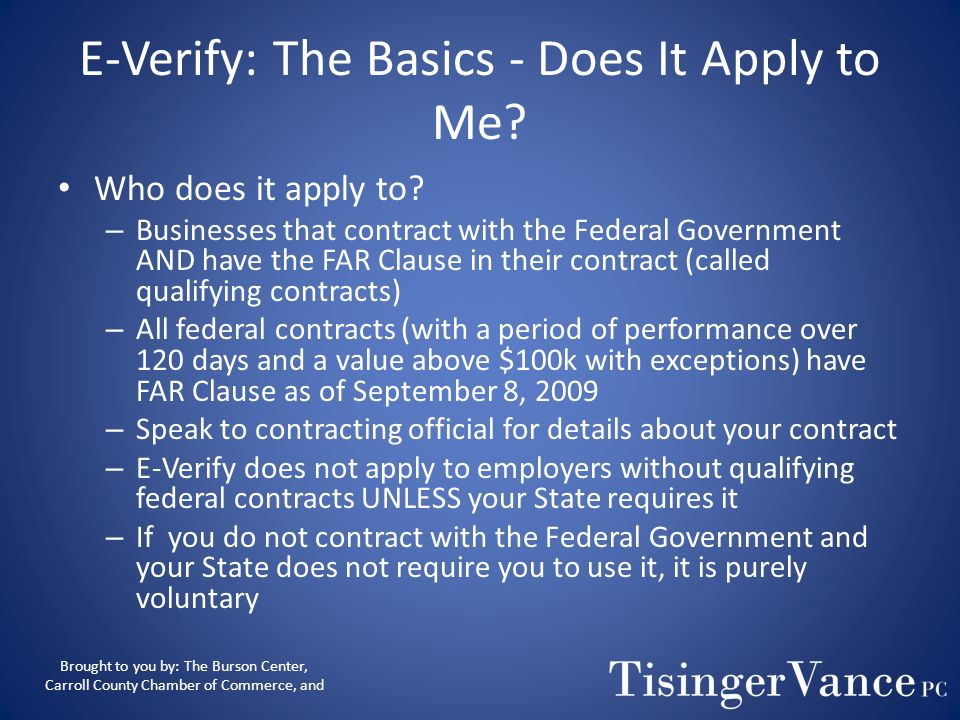 E-Verify: The Basics - Does It Apply to Me
