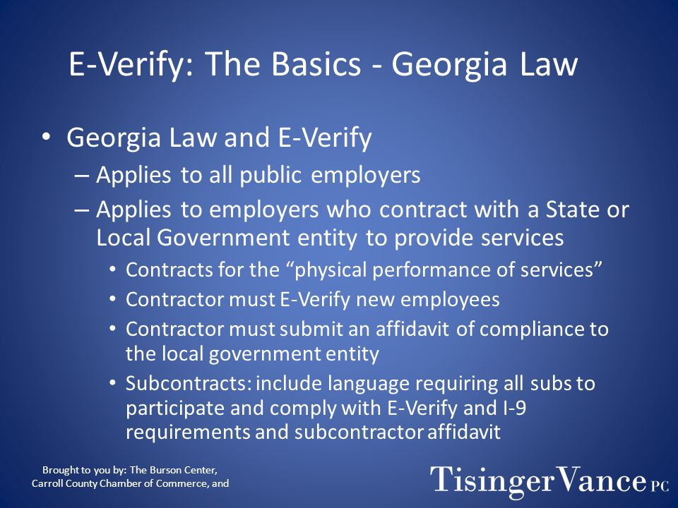 E-Verify: The Basics - Georgia Law