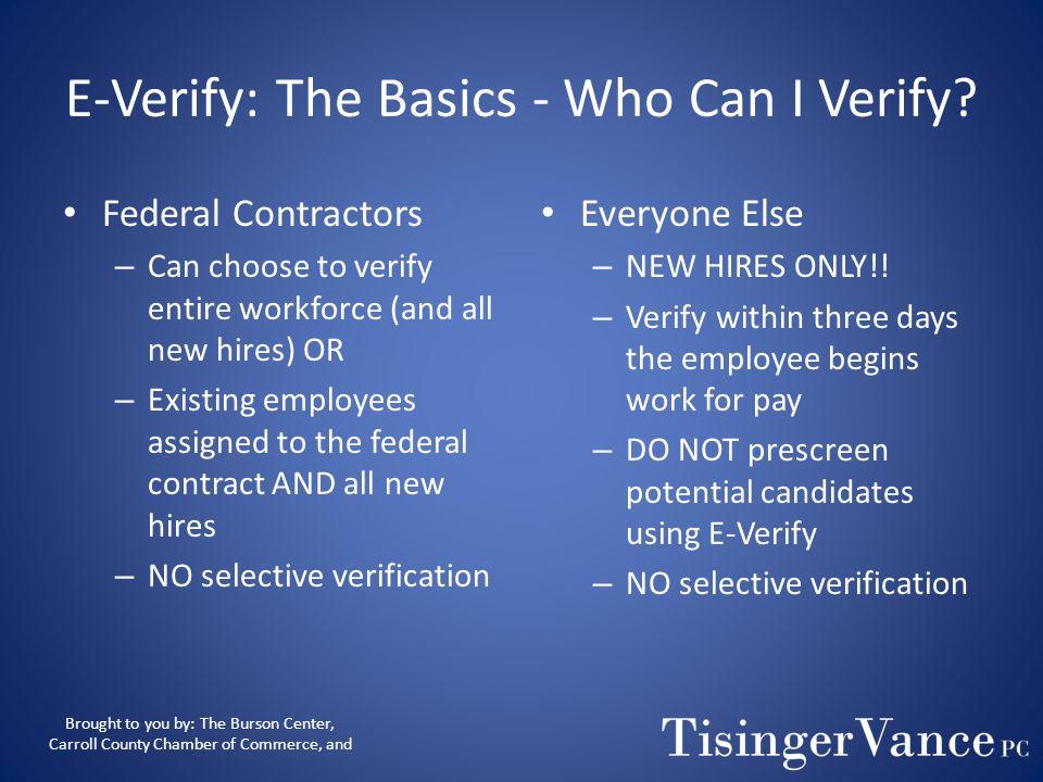 E-Verify: The Basics - Who Can I Verify