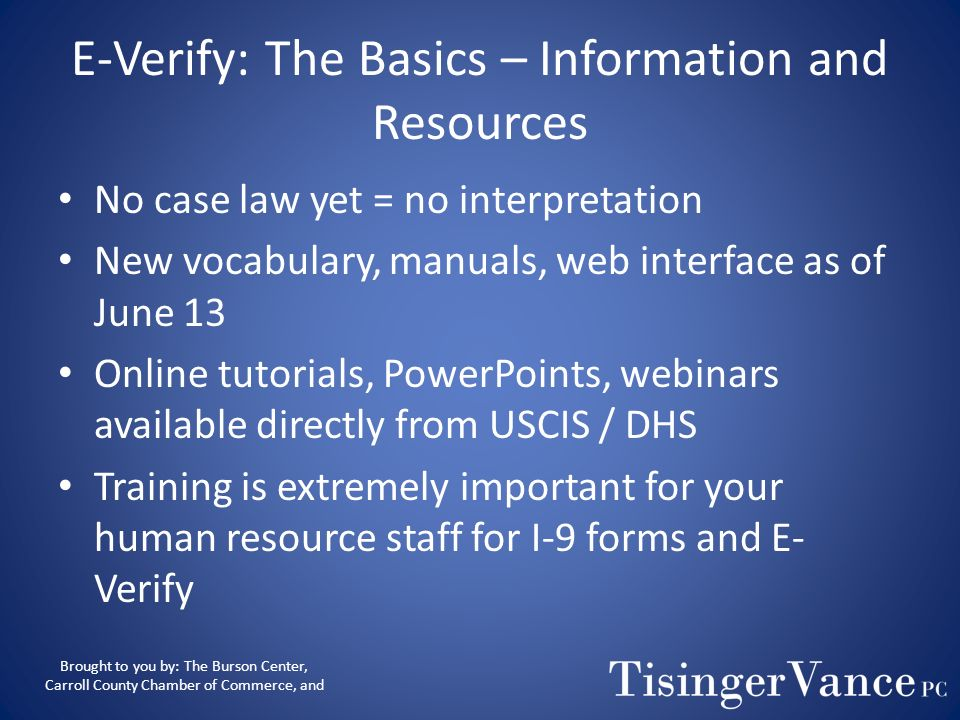 E-Verify: The Basics – Information and Resources