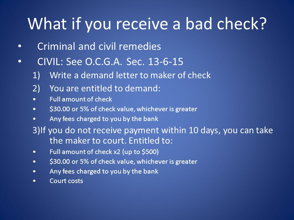 What if you receive a bad check