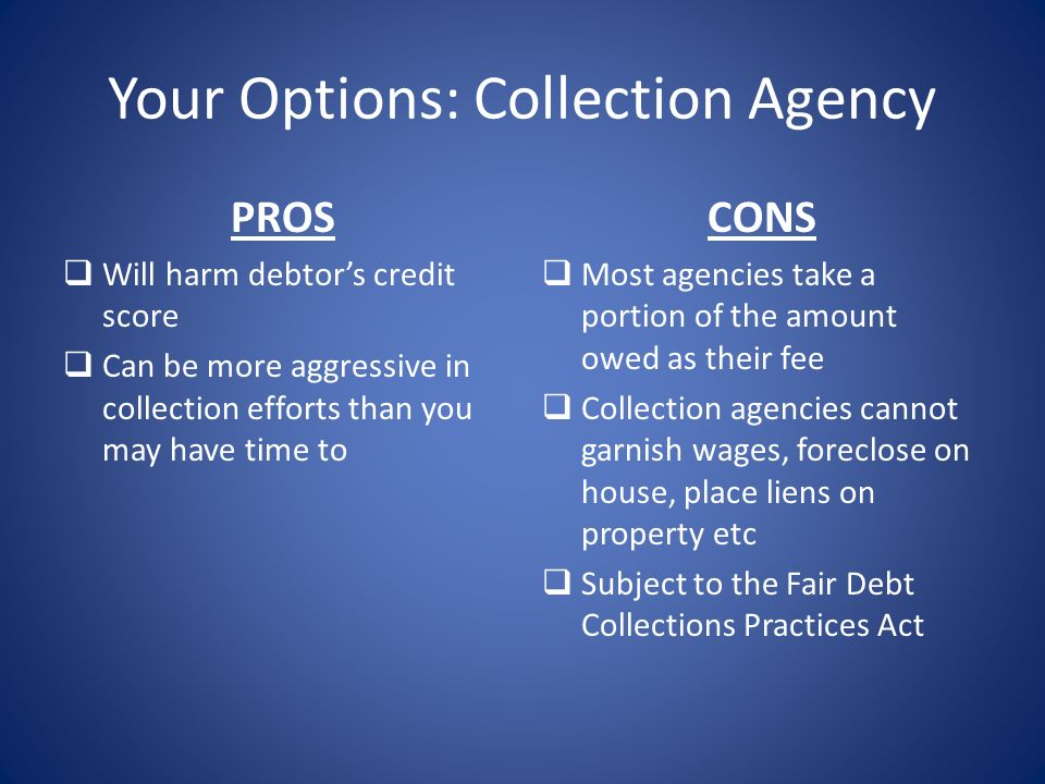 Your Options: Collection Agency