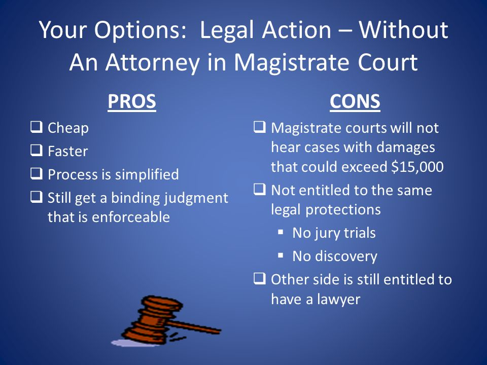 Your Options: Legal Action – Without An Attorney in Magistrate Court