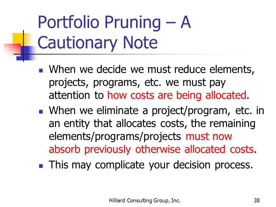 Portfolio Pruning – A Cautionary Note