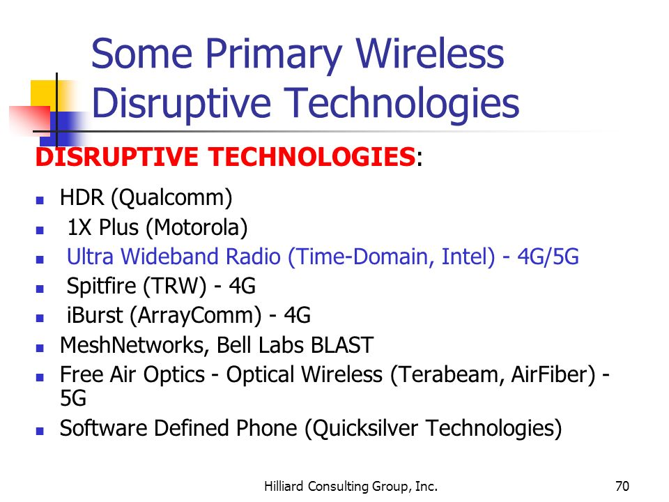 Some Primary Wireless Disruptive Technologies