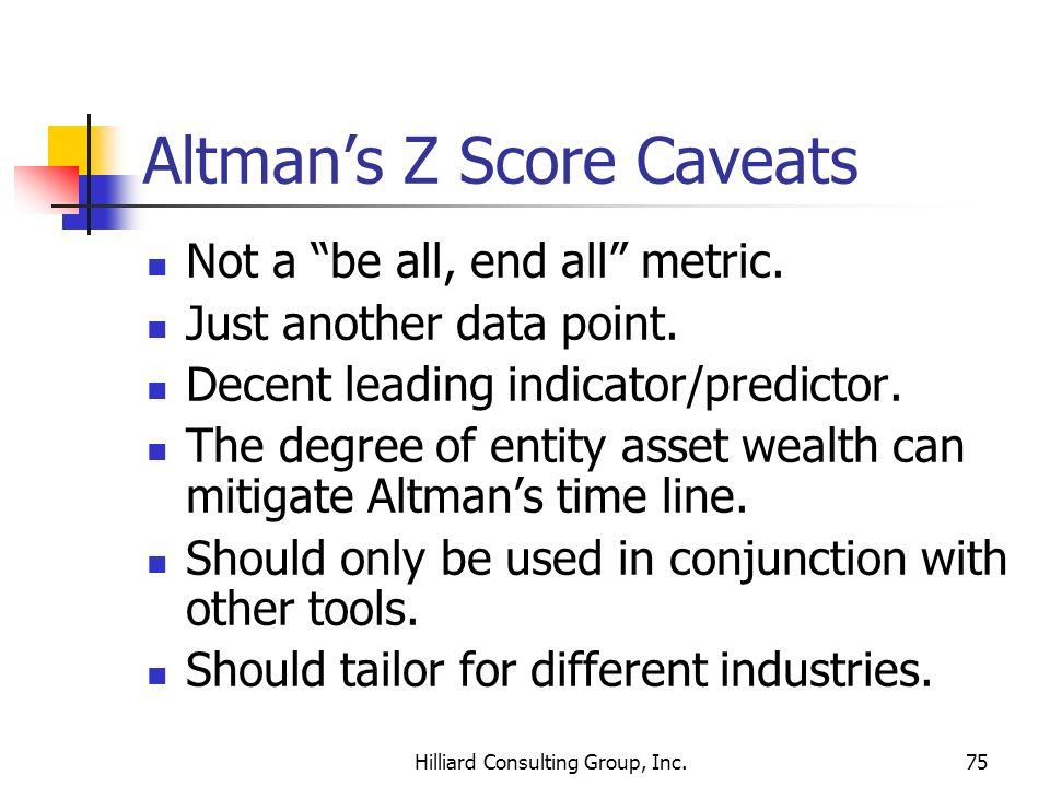 Altman's Z Score Caveats