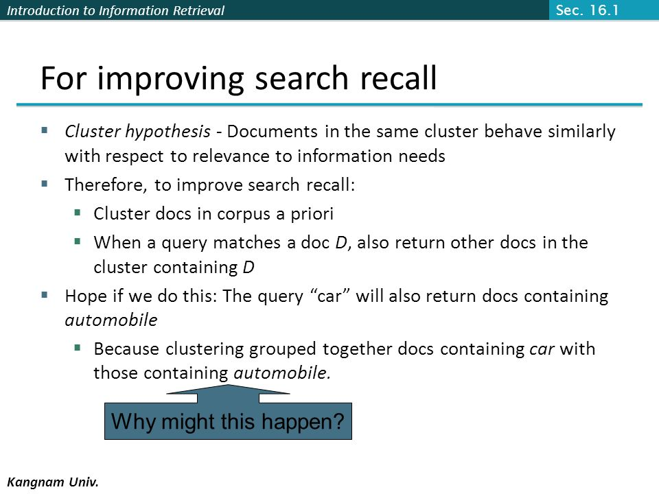 For improving search recall