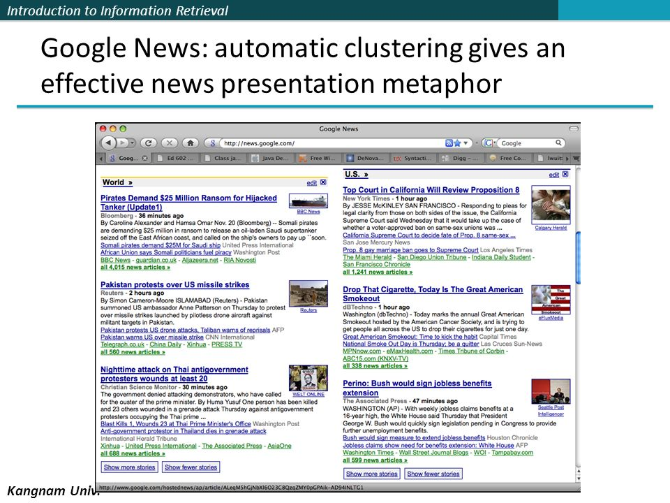 Google News: automatic clustering gives an effective news presentation metaphor