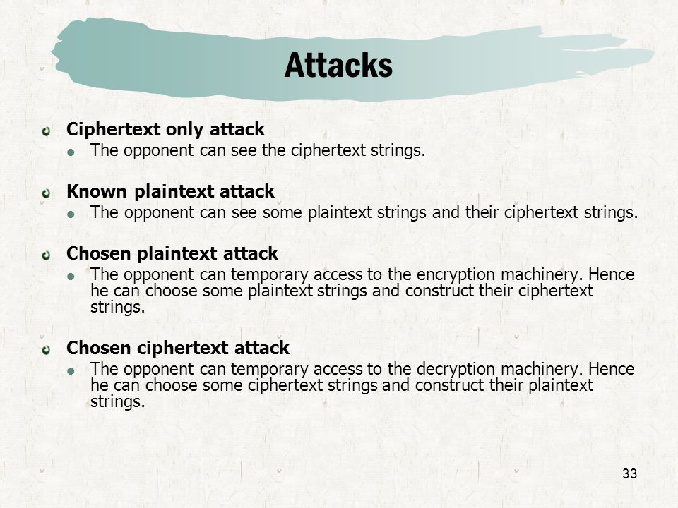 Attacks Ciphertext only attack Known plaintext attack