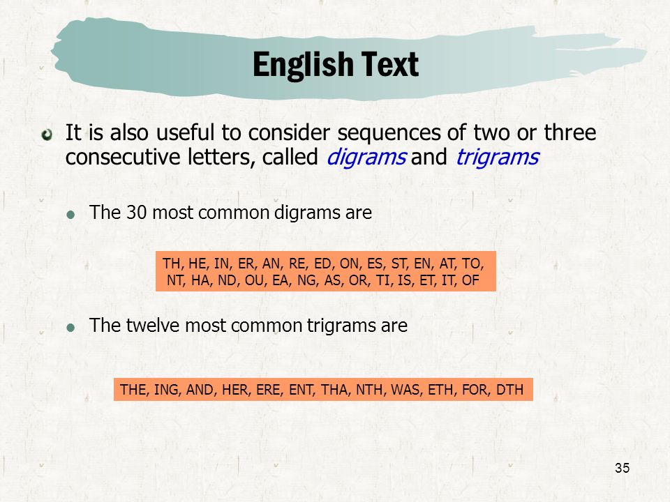 English TextIt is also useful to consider sequences of two or three consecutive letters, called digrams and trigrams.