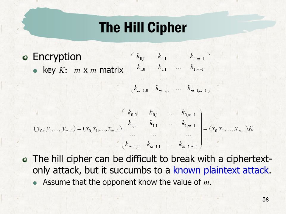 The Hill Cipher Encryption