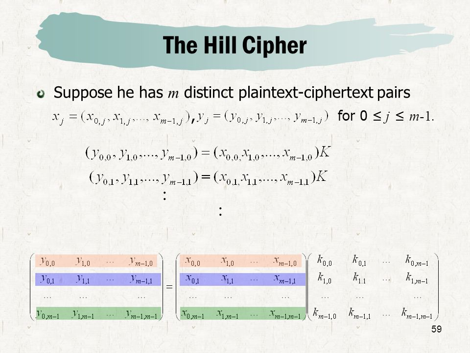 The Hill Cipher Suppose he has m distinct plaintext-ciphertext pairs