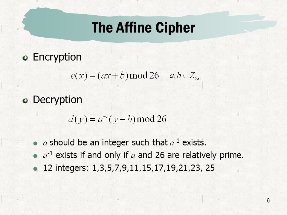 The Affine Cipher Encryption Decryption