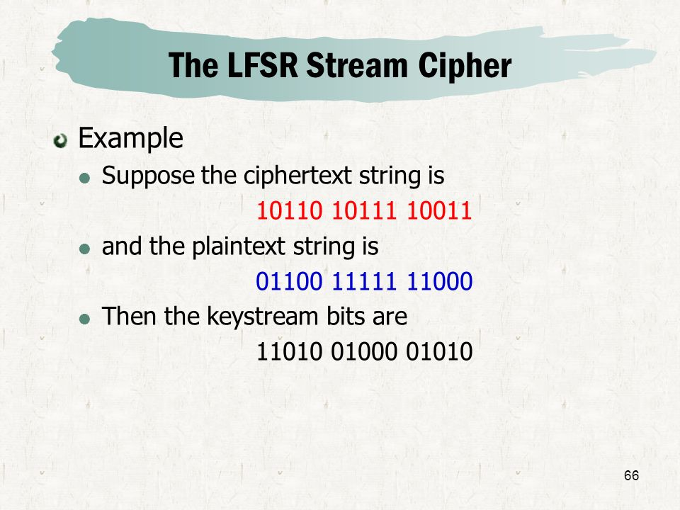 The LFSR Stream Cipher Example Suppose the ciphertext string is
