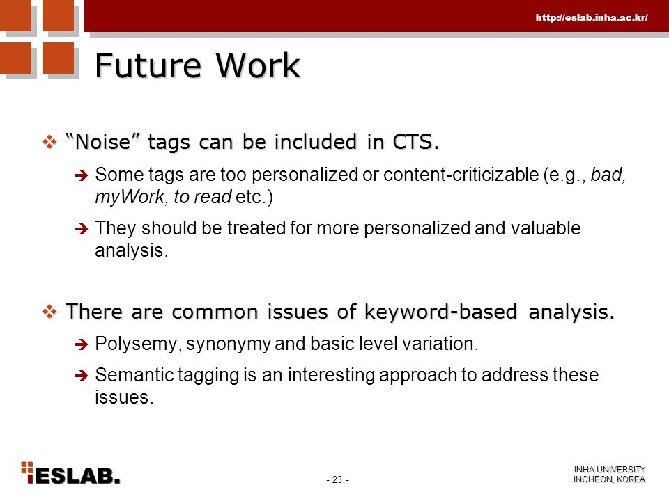 Future Work Noise tags can be included in CTS.