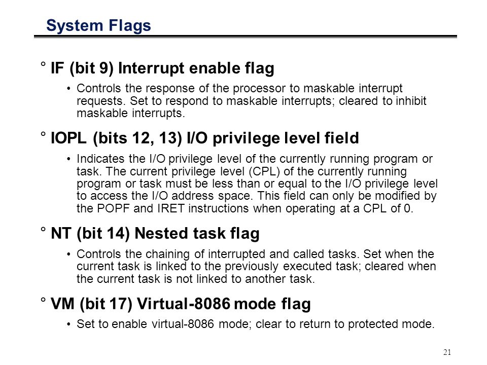 IF (bit 9) Interrupt enable flag