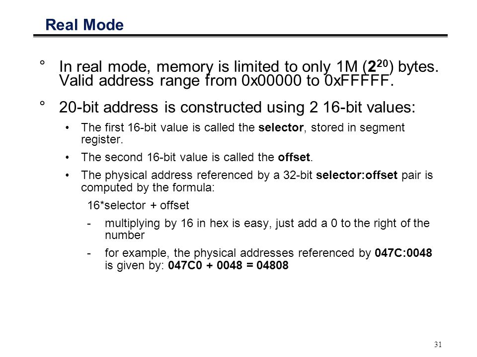 20-bit address is constructed using 2 16-bit values: