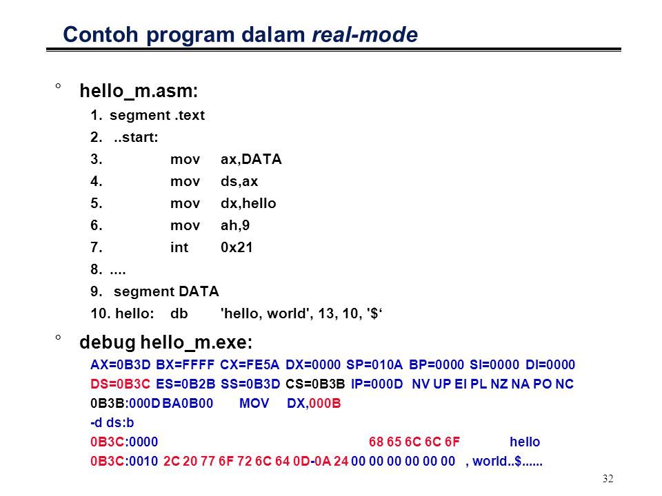 Contoh program dalam real-mode