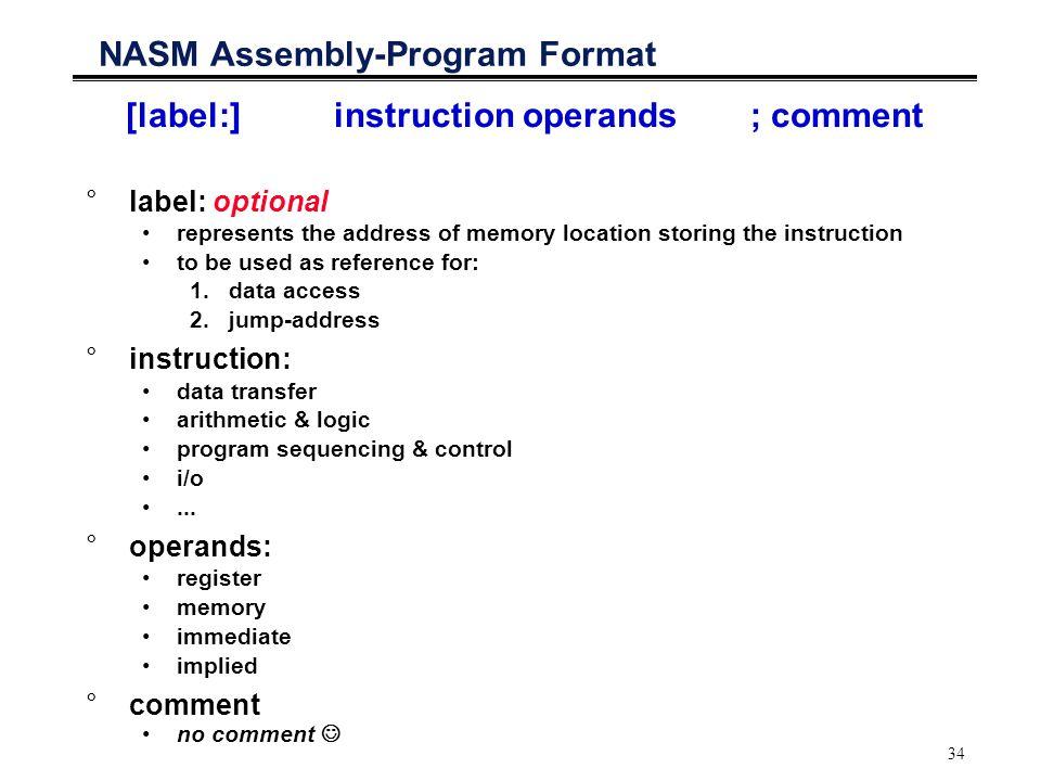 NASM Assembly-Program Format