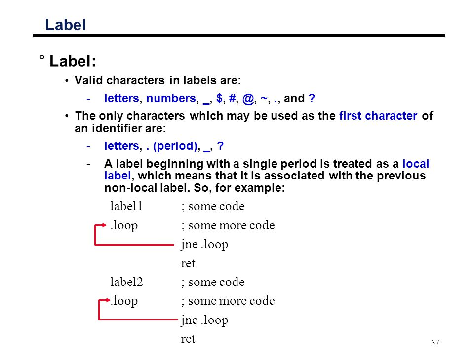 Label Label: label1 ; some code .loop ; some more code jne .loop ret