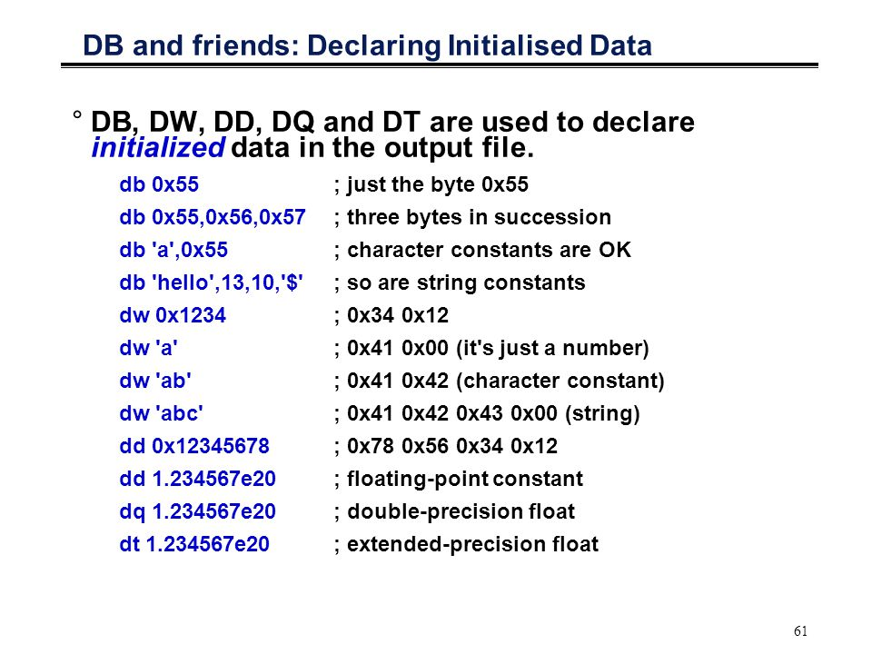 DB and friends: Declaring Initialised Data