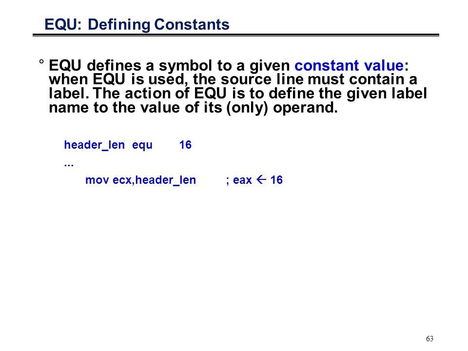 EQU: Defining Constants