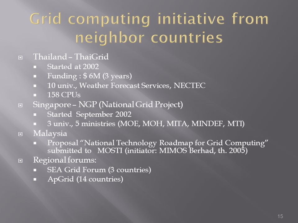 Grid computing initiative from neighbor countries