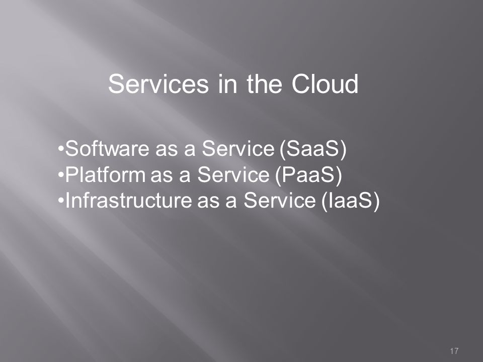Services in the Cloud Software as a Service (SaaS)
