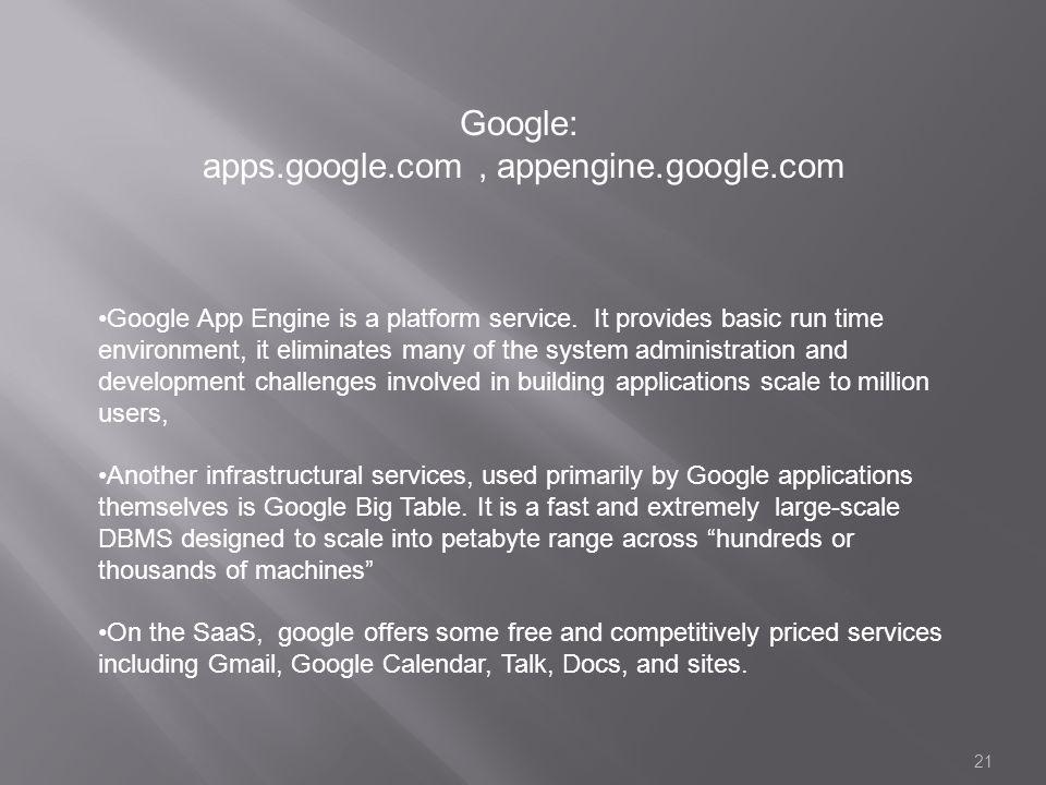 apps.google.com , appengine.google.com