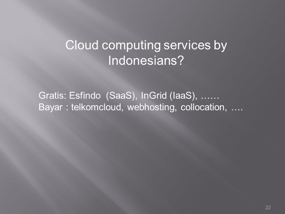 Cloud computing services by Indonesians